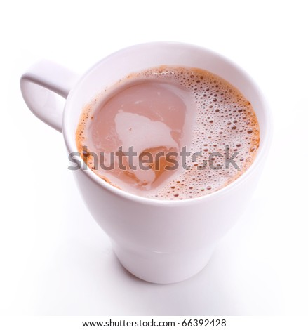 White office cup of hot coffee with milk and cream with foam isolated on a white background - stock photo
