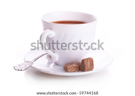 White office cup of tea on a saucer with a spoon and reed brown sugar on a white background with reflection - stock photo