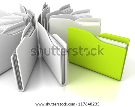 white office folders with green one on white background - stock photo