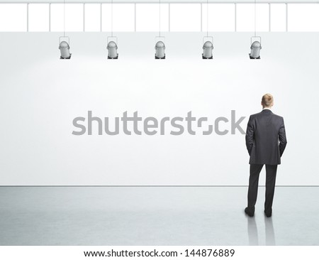 white office interior and businessman - stock photo