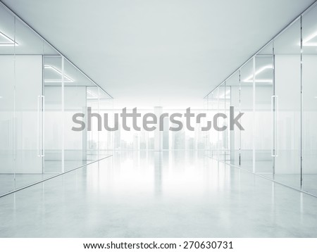 White office interior with panoramic windows. 3D rendering - stock photo