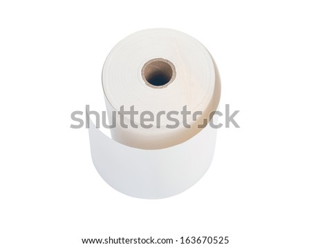 white office paper roll isolated on white background - stock photo