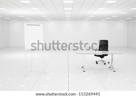 White office room with flip chart and black chair - stock photo