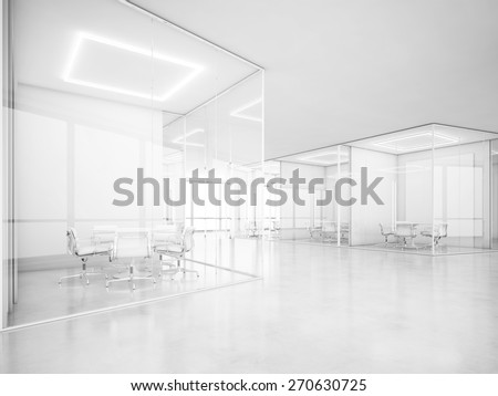 White office space. 3D rendering - stock photo