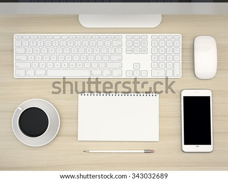 White Office table with computer ans smartphone. View top. - stock photo