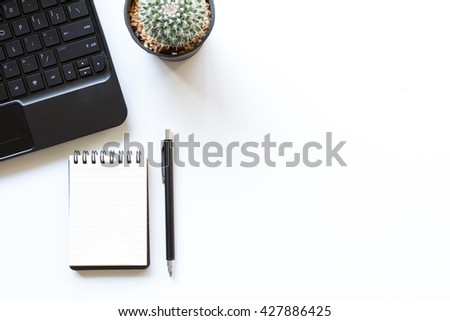 White Office Table With Office Supplies, Top View