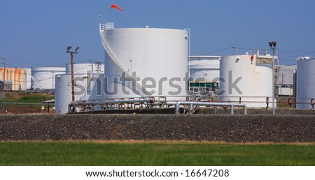 White Oil Tanks - stock photo