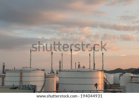 White Oil Tanks at sunset - stock photo