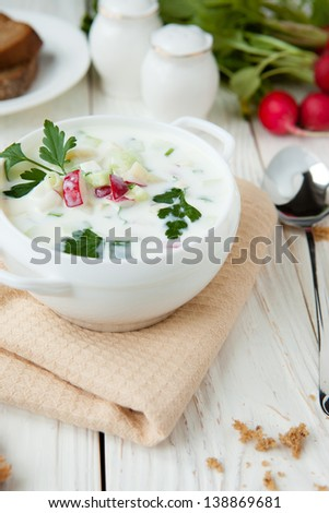 White Okroshka in a white tureen, food