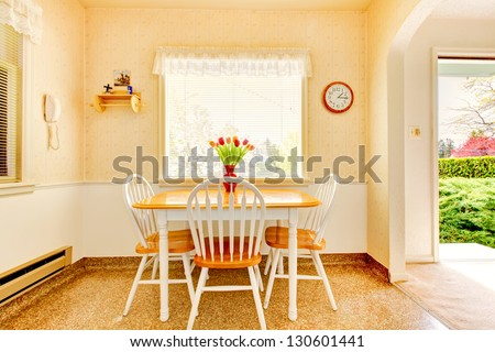 White old small kitchen interior in American house build in 1942. - stock photo