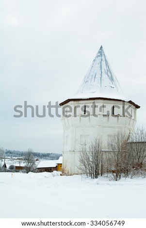 White old tower in winter in Uglich
