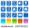 White on blue glossy internet icons series and five colors blank customizable buttons - stock vector