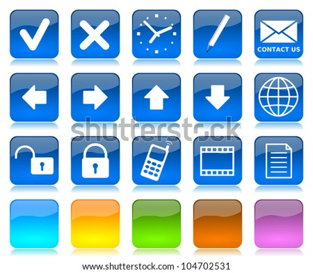White on blue glossy internet icons series and five colors blank customizable buttons