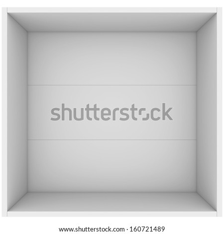 White open box. 3d render isolated on white background - stock photo