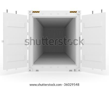 white open cargo container - stock photo