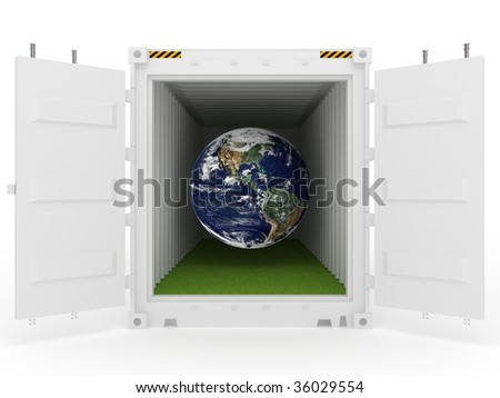 white open cargo container with Earth and grass