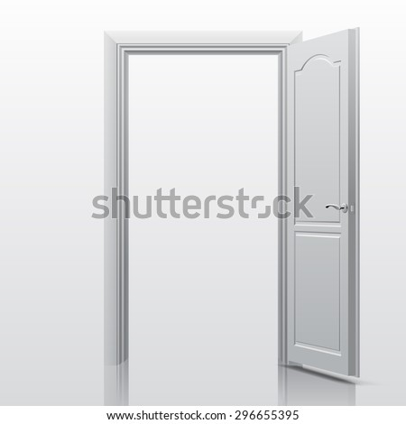White open door. Contain the Clipping Path