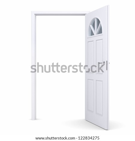 White open door. Isolated render on a white background