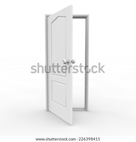 White open door on an isolated background - stock photo