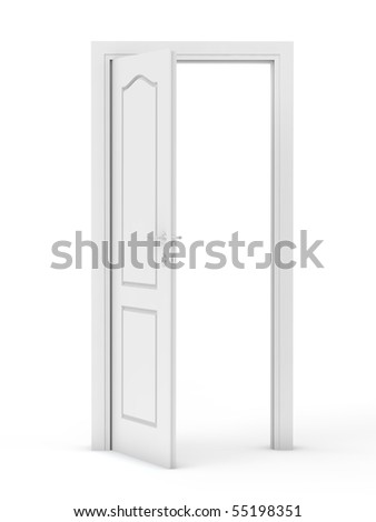 white open doors - stock photo