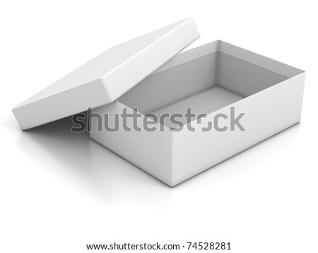 white open empty box isolated over white background 3d illustration - stock photo