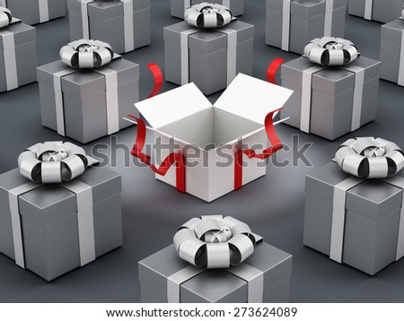 White open gift box standing out among gray boxes - stock photo
