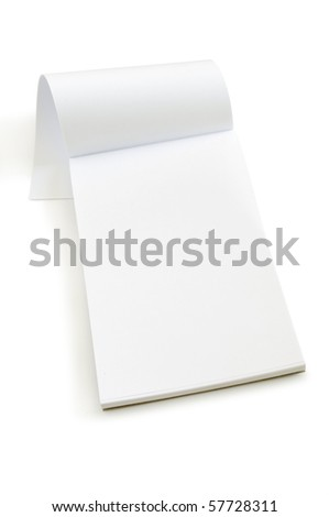 white open notebook isolated on white
