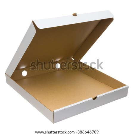White open pizza box isolated on white with clipping path. Empty pizza box - stock photo