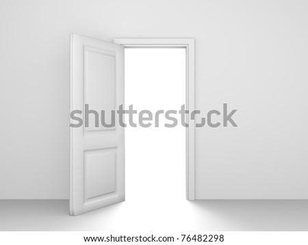 White opened door - stock photo