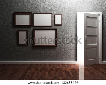 White opened door and the picture in the empty room, rendering
