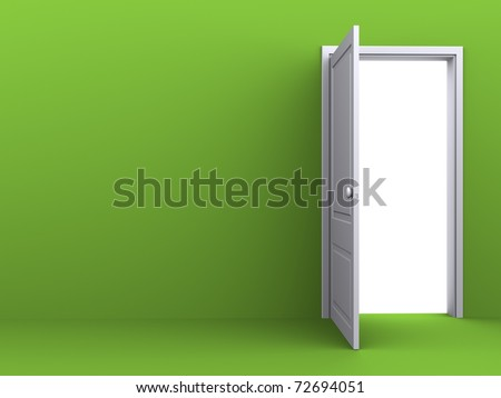 White opened door in the green wall - stock photo