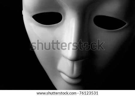 White opera mask on black background - stock photo