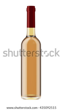 White or rose wine bottle with red plug isolated on white background. 3D Mock up for your design. - stock photo