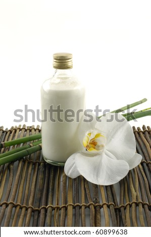 White orchid flower and spa item