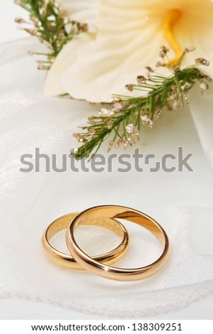 white orchids and wedding ringson white background - stock photo