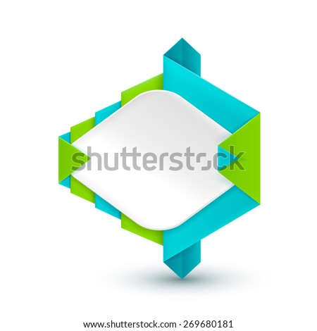 White origami banner wrapped in green & turquoise paper. Isolated on a white background. With Space For Text. Raster copy.