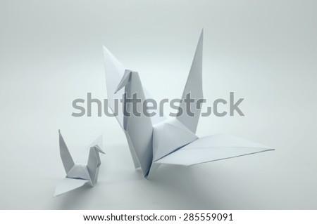 White origami crane, bird, paper - stock photo