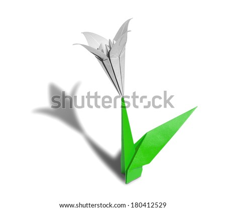 White origami flower lily isolated on white - stock photo