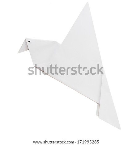 White origami paper dove - peace, Easter etc