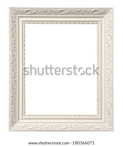 White ornate frame with space for picture on white background - stock photo