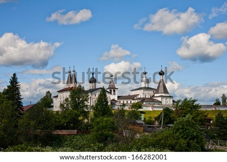 White orthodox Ferapontov monastery in summer day
