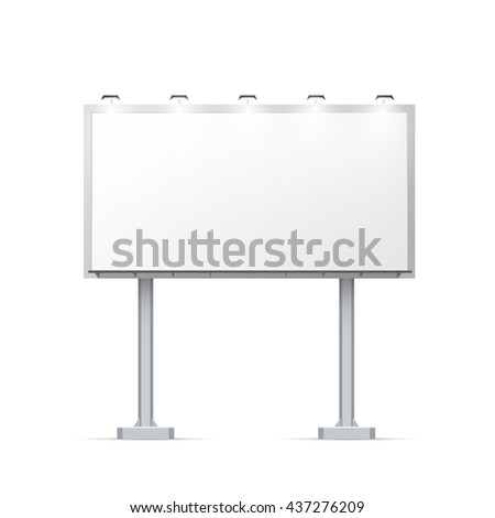 White outdoor billboard on two pillars with place for advertising and with lighting Isolated on white - stock photo