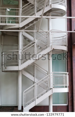 White Outdoor Metal Staircase For Fire Exit