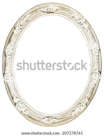 White oval Baroque Frame - stock photo