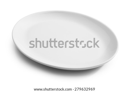 white oval empty plate isolated  - stock photo