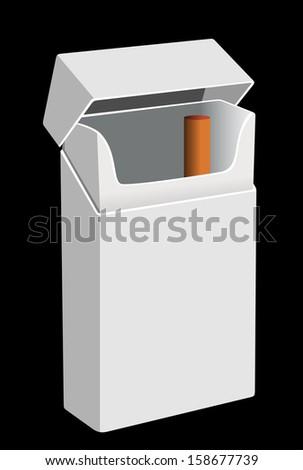 White Pack of cigarettes isolated on black background - stock photo