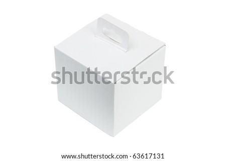 White package box isolated on white background - stock photo