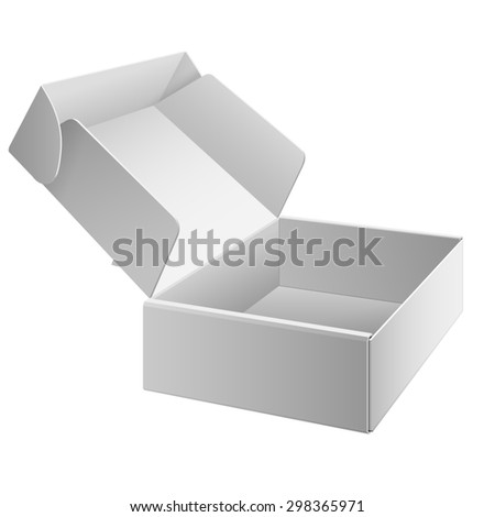 White Package Box Opened. For Software, electronic device and other products. - stock photo