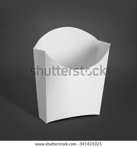 white Package container for french fries, potato chip or food products mockup over dark grey background - stock photo