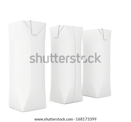 white package for juice. 3d render on white background